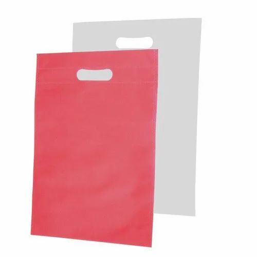 Red, White Eco Friendly Non Woven D Cut Bag, Capacity: Upto 5 Kg