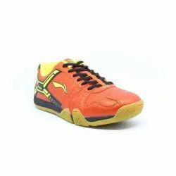 Leather Li Ning Non Marking Saga No10 Badminton Shoe Orange Lime
