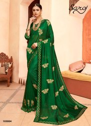Green Color Silk Diamond Work Saree