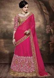 Elegant Rani Pink Designer Lehenga Saree