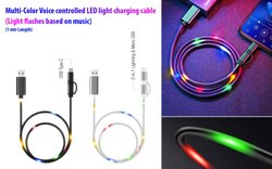 Voice Controlled LED Light Charging Cable (Multicolor), Cable Size: 1 mtr
