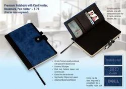 Premium Notebook With Card Holder, Bookmark, Pen Holder (Can Be Laser Engraved)