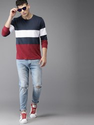 Cotton Black, White and Red Men's Stylish Color Block T Shirt