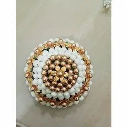 Artificial White And Golden Flower Juda Bun