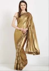 Golden and Beige Stylish Designer Saree
