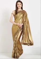 Golden and Beige Stylish Designer Saree