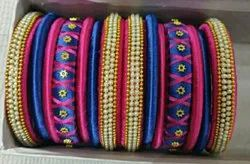 New Hyderabad Silk Thread Bangles Set, For New, Round