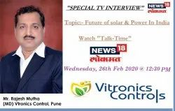 IBN Lokmat of Mr. Rajesh Mutha, Managing Director ,  Vitronics Controls on an