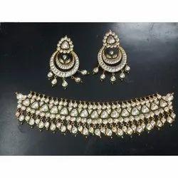 Golden Party Wear Kundan Gold Necklace