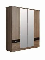 Aditya Furniture Brown Double Mirror Wooden Wardrobe, For Bedroom