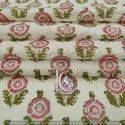 Floral Hand Block Print 100% Cotton Fabric Vegetable Color