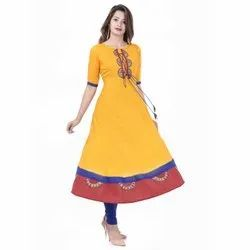 Yash Gallery Women's Rayon Slub Patch Work Anarkali Kurta