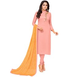 Rajnandini Light Pink Chanderi Silk Embroidered Semi-Stitched Dress Material With Printed Dupatta