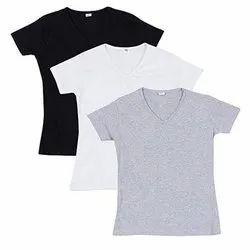 Cotton Men V Neck Plain T Shirt