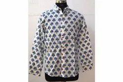Mens Hand Block Print Cotton Shirt