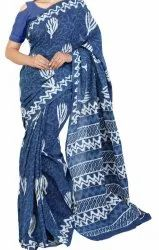 Cotton Printed  Indigo Sarees