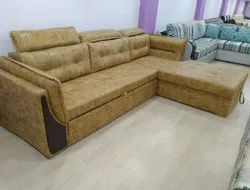 Wood Leather L Type Sofa Cum Bed, Seating Capacity: 5 Seater, Back Style: Pillow Back