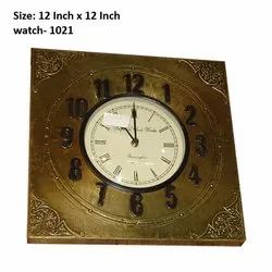 Wood Wooden Decorative Wall Clock, Size: 12 Inch X 12 Inch