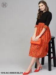 Midi Cotton Orange & Black Gathered Dress with Shirt Collar & 3/4 Sleeves
