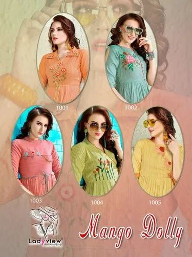 3/4th Sleeve Mango Dolly Fancy Summer Wear Cotton Kurtis Collection