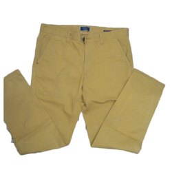 Regular Fit Yellow Men Casual Wear Formal Trouser, Machine wash