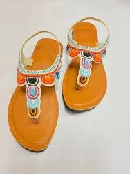 Women Embroidered Dabka Embroidered Kolhapuri Sandals