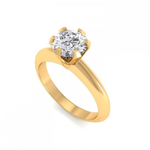 Women Anniversary And Engagement 1 Carat Solitaire Diamond Ring In Yellow Gold Size Free Size Rs 150792 Piece Id 15806444748
