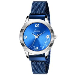Jainx Blue Magnet Mesh Chain Analog Watch For Women And Girls - JW652