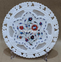 Marble Inlay Decorative Plate In Oval Shape