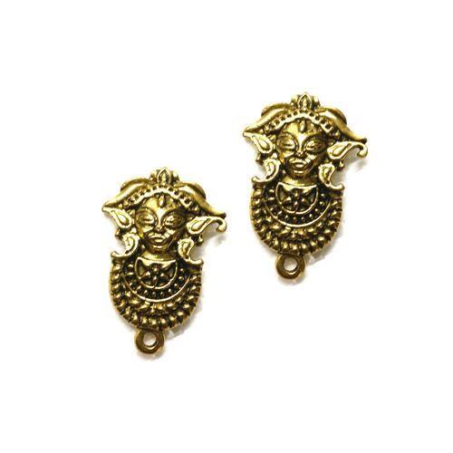 77d2408bb Metal Golden Gold Antique Stud Durga Face, Rs 10 /pair | ID: 1409850112