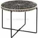 Bone Inlay Table with Metal Base