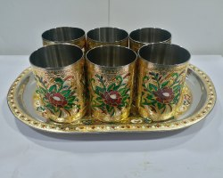 Designer Glass And Tray Set