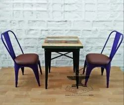 Rustic Green 2 Chair 1 Table Cafeteria Chairs & Tables, For Cafe, Restaurant, Size: 60X60X76