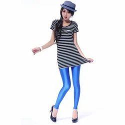 Blue Straight Fit Ladies Leggings, Size: Medium