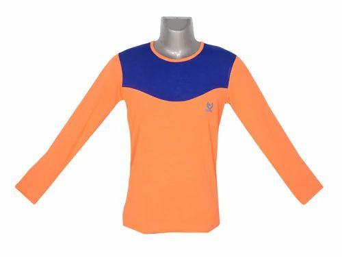 76cd16d5 Men's Full Sleeve Plain Orange & Blue Casual T-Shirt, Rs 70 /per ...