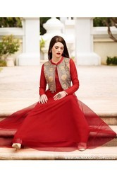 All Sizes Wedding, Party A LINE FLARED INDIAN PROM DRESSES EVENING RED GOWN OF NET