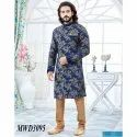 Navy Blue and Chikoo Jacquard Readymade IndoWestern