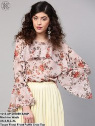 Taupe Floral Front Ruffle Crop Top