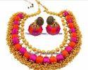 Yaalz Traditional Neckset & Matching Jumka Combo In Pink And Orange