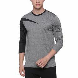 Plain Round Men Grey And Black Polyester T Shirt