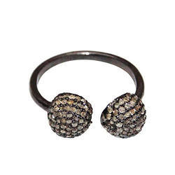 Ball Diamond Silver Ring