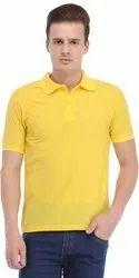 Yellow Polo Neck Half Sleeves T Shirt
