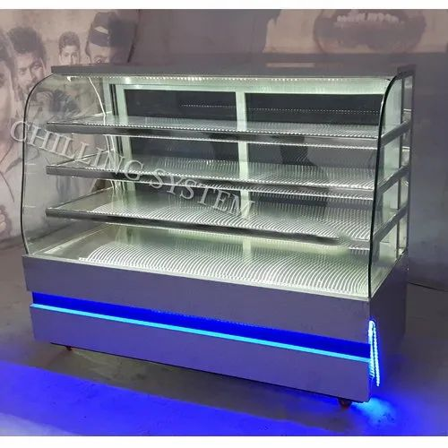 SS Curved Glass Sweets Display Counter