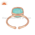 Designer Rose Gold Plated 925 Silver Aqua Chalcedony Rings
