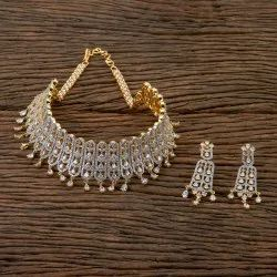 Cz Mukut Two Tone Plated Necklace 406295