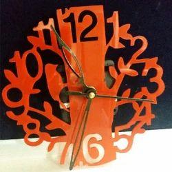 Orange Wood Decorative Wall Clock