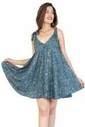 Printed Round Neck Fashion Dress