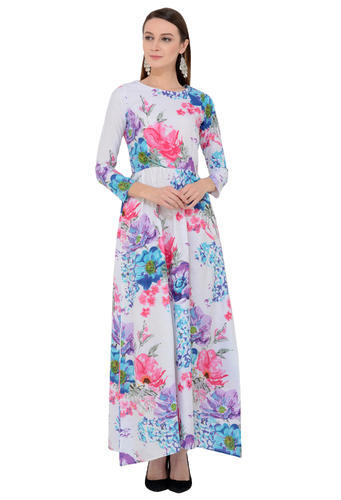 faef85197 Cotton Full Sleeve Round Neck Party Wear Floral Printed Maxi Dress ...