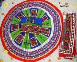 Designer Ladies Green and Blue Cotton Chaniya Choli, Dry clean