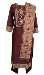 Lavanya Maroon Fabric Suit Ot Design Dupatta